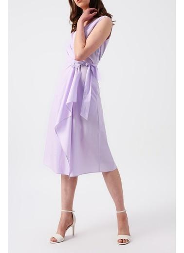 Random Kadın Beli Bağlamalı Kruvaze Kolsuz Midi Elbise Lila